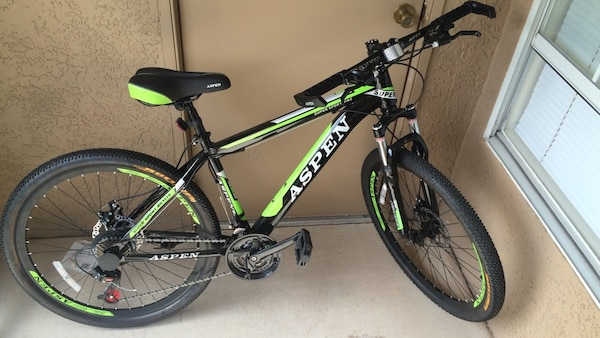 Used Black And Green Aspen Hardtail Mountain Bike For Sale In
