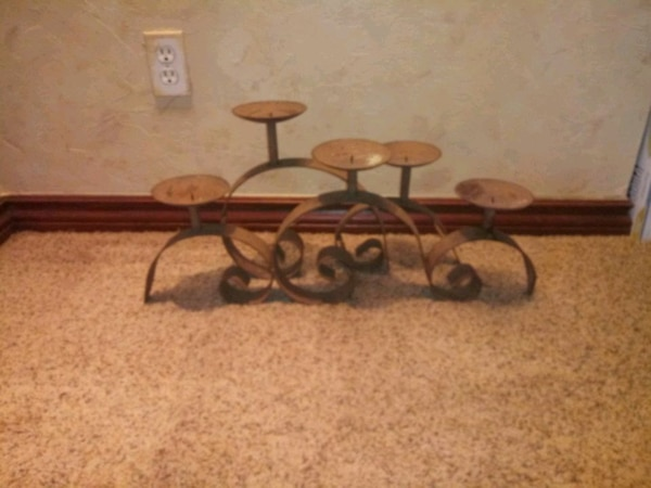 Cast iron table top candle holder