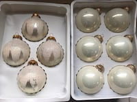 Set of 10 Vintage White Glass Christmas Ornaments  Barrington, 02806