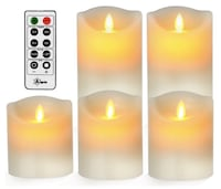 """BRAND NEW SEAL IN BOX Flameless Candles Realistic Moving Battery Candles Set of 5 (H5""""6""""7""""8""""9""""xD2.2) Hayward, 94544"""