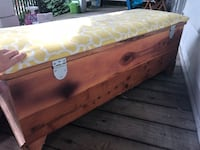 Solid wood chest-needs a new piece of fabric on top to freshen up but other than that in great condition