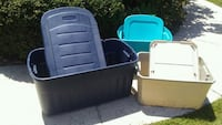 40 gallon rubbermaid roundup tote and 2 smaller to