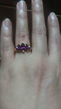 18 kt gold plated amethyst ring