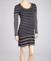 Black and gray striped sweater dress – large – Brand new with tags  Calgary, T3B