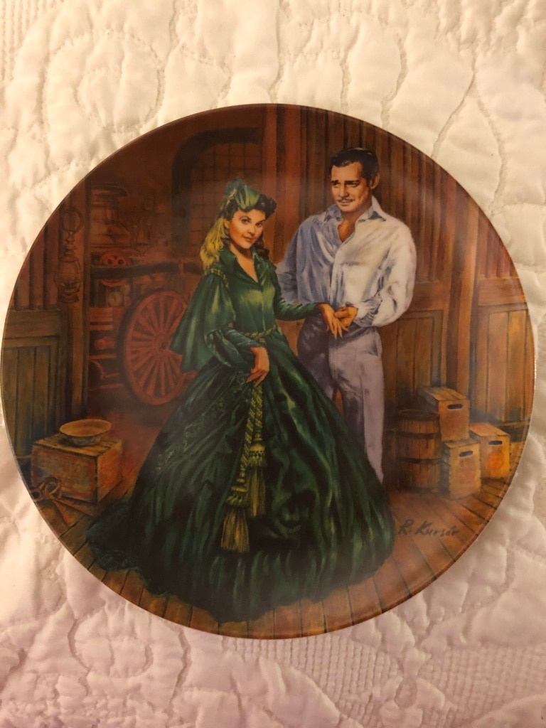 Photo Gone With The Wind Rhett &. 3Scarlett PlatesNumbered LE R M Cond.35.00