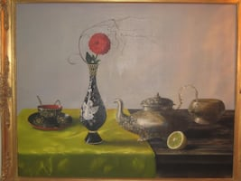 Gyorga Korga - 'Still Life with Pewter, Carnation and a Lime', oil on canvas, signed lower right, framed.