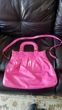 pink and black leather tote bag MORGANHILL