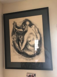 Charcoal painting by Piccard 1950's Orange, 92867