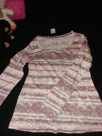 women's red and white stripes floral long sleeve dress