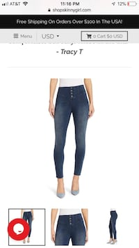 Skinny girl jeans size 31. Worn and washed twice. Paid over $100.00 for them over a month ago. Medford location Medford, 02155