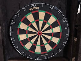 26 x 30 Nodor Supabull dart board and wooden cabinet