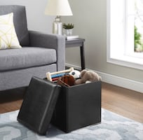 Ultra Collapsible Storage Ottoman - Black Faux Leather