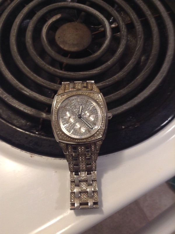 round-square diamond embellished silver-colored chronograph watch with link band