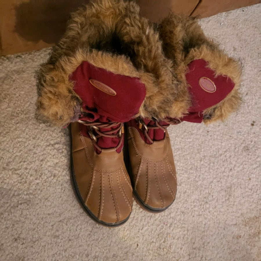 Warm brown and maroon snow boots