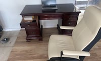 Solid mahogany gibbard double pedestal desk with chair