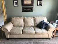 Beautiful ivory leather couch/chair and ottoman by Ashley furniture. New cushions on the couch! Super comfy!  Kennewick, 99337