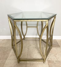 Z Gallerie Brooke hexagonal glass end table with metal base Santa Ana, 92706