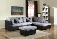 NEW! Grey Sectional and Ottoman Silver Spring