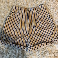 Size 6 Yellow, White, and Blue Vertical Striped High Waisted Shorts with Elastic Back Santa Rosa, 95403