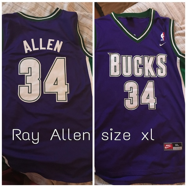 1e04f3468fd1 Used purple and green Milwaukee Bucks 34 Allen print jersey for sale in  Deep River - letgo
