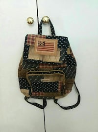 black and brown fabric backpack