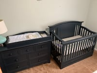 Cache Harbor – Navy Mist – 7 Drawer Dresser w/ changing table top, crib, and conversion kit Lutherville Timonium