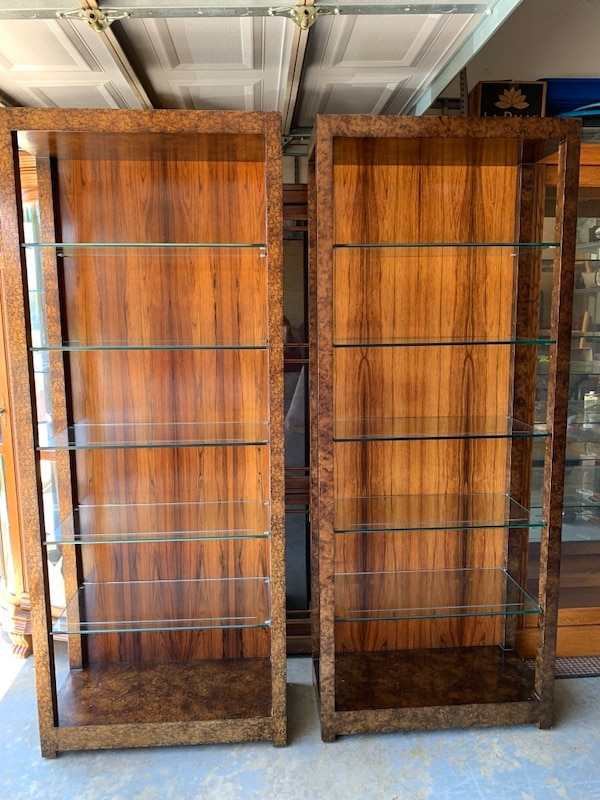 Fabulous Matching Open Display Shelf Cabinets 5 Thick Glass Shelves On Each Home Interior And Landscaping Ferensignezvosmurscom