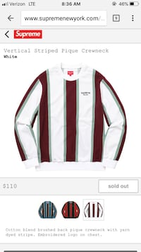 white and brown striped Supreme long-sleeved shirt