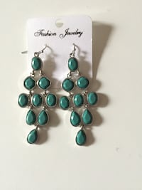 pair of silver-and-teal beaded earrings Secaucus, 07094