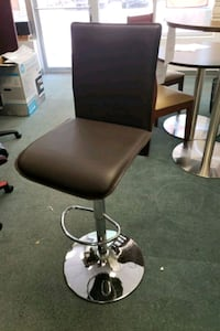 Brown Leather bar stool with chrome base