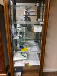 brown wooden framed glass display cabinet Hagerstown, 21742