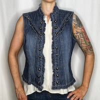 Tribal Denim Ruffle and Button Vest Size 10