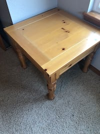 Solid wood table 22.5(h) X 28 (w) X 28 (d). Decent shape!  Very sturdy table. Well built in the USA Broomfield, 80023