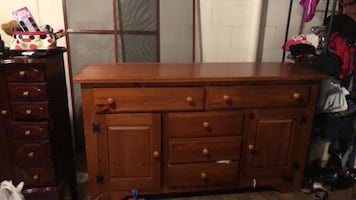 Buffet cabinet with lighted hutch