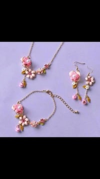 Pink Flower Floral Theme Necklace, Earrings & Bracelet Jewelry Set Vancouver, V5X 1A7