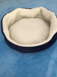 Navy blue and white pet bed