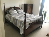 Queen Bed Cherry Headboard, footboard, and metal frame Alexandria, 22303