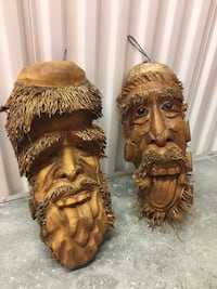 "Set of 2: 19"" 'Tiki Faces'  Hand Carved Wood Wall Decor  (Well-Detailed)  Coconut Creek"