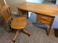 Antique Oak Desk (small) With Swivel & Tilt matching chair North Vancouver, V7H 2P6