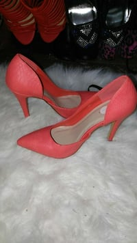 women's red leather pointed-toe platform pumps