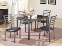 rectangular black wooden table with four chairs dining set Frederick, 21702