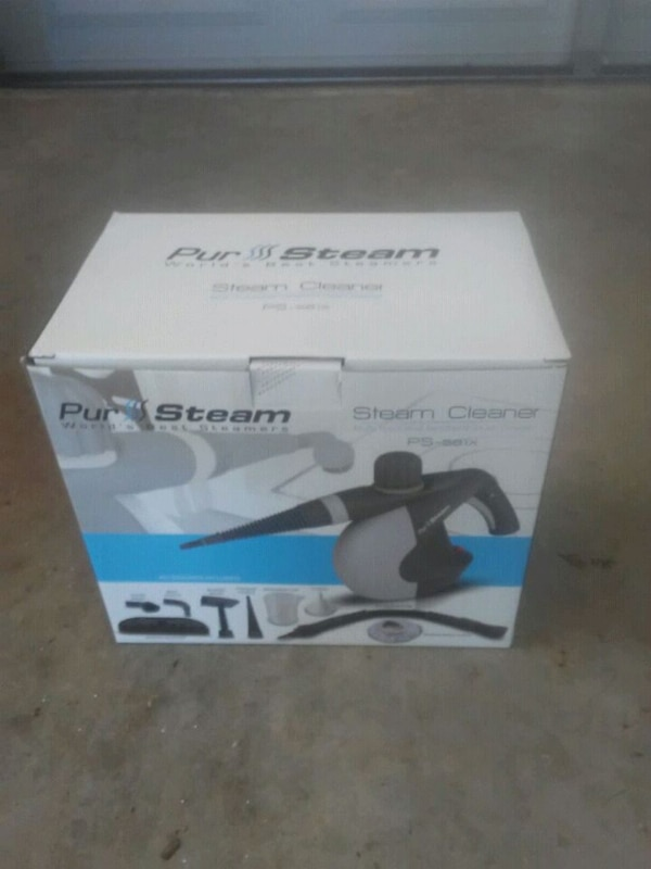 black and gray Pur Steam steam cleaner box