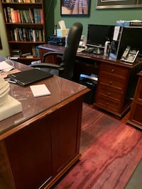 Oak office furniture. 2 desk , file cabinet and book shelf. All match. Good quality. Price negotiable.