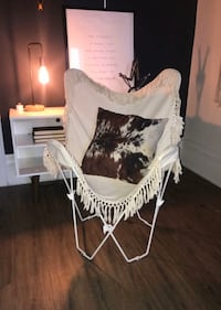 Canvas butterfly chair with tassels beige