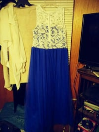 women's white and blue dress