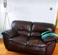 Brown leather loveseat couch Seattle, 98109