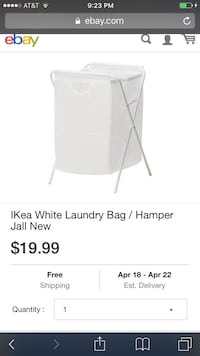 IKea White Laundry Bag / Hamper Jall and Fabric basket (3 quantities ) $10 Washington, 20024