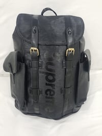 black and gray leather backpack Davie, 33314