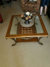brown wooden framed glass top coffee table London, N5Z 5A2