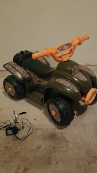 toddler's gray, brown and orange ATV ride-on toy
